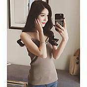 Las mujeres nuevas coreanas delgadas rayas verticales camisa de punto era delgada fina minimalista sexy camisola