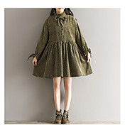 長袖コーデュロイ小さな蓮の葉の襟のドレスを印刷する新しい春のドレス緩い大きなヤードに署名