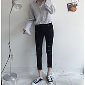 Real tiro modelos caída coreano elegancia estilo minimalista alta cintura denim pantyhose agujero delgado delgado