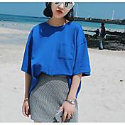 mujer&# 39; s de manga corta de la versión coreana compasiva de estilo harajuku suelto color sólido camiseta de agujero de rocío ropa