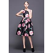 Europa estación 2016 nuevas mujeres&# 39; s moda flor grande sin mangas vestido de cintura