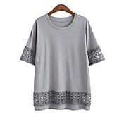 2016ヨーロッパとアメリカの新しい脂肪ミリメートル大きいサイズの女性はステッチ緩い半袖Tシャツをひもで締めます