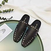 Mujer-Tacón Plano-Confort-Zuecos y pantuflas-Informal-Microfibra-Blanco Negro