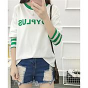 Signo 2016 otoño coreano rayado costura dejar dos letras impresas cuello redondo de manga larga camiseta estudiantes mujeres
