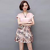 2017夏の新しい韓国の半袖のプリントシフォンドレスツーピースのスカートスーツスカート小さな香りの風潮の女性