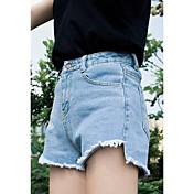 フロントロングデニムのショートパンツでの短い女性の夏の緩い大きなヤードは、不規則なスリムが薄いワイドレッグパンツだったバリ