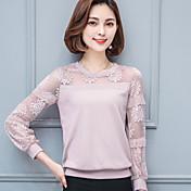Camisa de encaje camisa de manga larga de cuello redondo camisa de manga larga camiseta de manga larga camiseta de manga larga