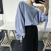 Signo de rayas arco v-cuello camisa femenina