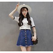 スポットは、本当に2017春と夏の新しい韓国語版は、薄い腰フラッシュブレストデニムスカートスカートの女性だった作ります