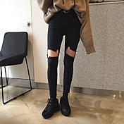 韓国のハイウエスト鉛筆脚バリ穴ストレッチジーンズ