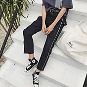 firmar neto 2017 versión coreana de la cintura suelta retro del color del golpe era delgado borde blanco de los pantalones vaqueros rectos