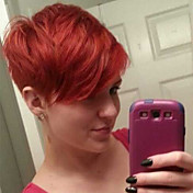 Mujer Pelo humano pelucas sin tapa Negro Rojo Blanco Corto Ondulado Natural Corte Pixie Con flequillo Parte lateral