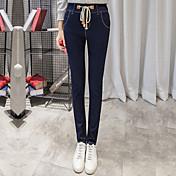 サインの新しいストレッチデニムハイウエストパンツの足の鉛筆のズボンのひげそりのズボン女性の女性の流入