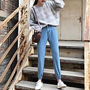 ズボンのウエストパンツの足は薄いパンスト足幅の広い曲halunパンツが受信された春のジーンズに署名