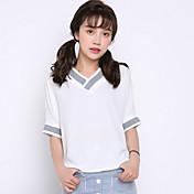 リアルショット夏2017ソリッドカラールースVネック白半袖Tシャツの女性の韓国版