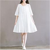 Vestido de la manga del arte del punto vestido de la anchura de banda flojamente vestido de algodón flojo falda de hadas