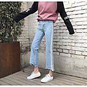 サイン春の韓国のレトロな緩い腰が薄いカーリングデニムワイドレッグパンツの女性モデル潮に乗っていました