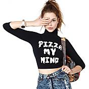 クリアランス1179ヨーロッパhilumピザ私の心の手紙は、高襟スリーブ付きのTシャツを印刷