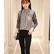 muestra-manga del ventilador coreano salvaje versión coreana del viento de la universidad de algodón a rayas camisa fresca camisa de
