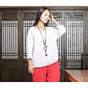 サイン#2017新しい春のボトミングシャツの綿セン女性の文芸リネンルーズネックTシャツの女性