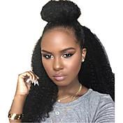 赤ちゃんの髪と自然な色の黒い女性のための130%denistyレースかつらバージンブラジルの人間の髪のかつら