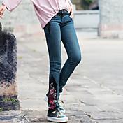 Nuevas mujeres&# 39; s bordado nacional de viento hechizo lavado de color vaqueros viejos lavado de pies pantalones rectos