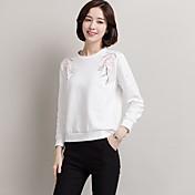 リアルショット女性長袖2017新しい秋の女性韓国の刺繍綿ルーズ、カジュアルな白いTシャツ