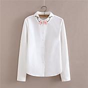 2017新しい春の新鮮な花刺繍長袖シャツラペルラウンドスイングコットンコットン白いシャツの女性