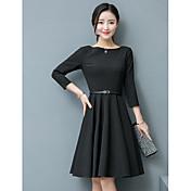小さな黒い服2017春の新しい韓国の襟スリムスリーブウエストドレスの単語のスカートに署名