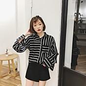 サイン牡丹韓国初春新しいレトロファッション光沢のある緩いストライプの長袖シャツの女性