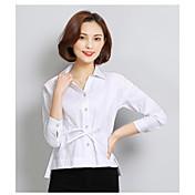 サイン長袖シャツ韓国人女性のファンスリム薄いレースのシャツブラウス2017春の綿