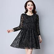 Signo flocado impresión nuevo coreano retro pequeño vestido floral metros grandes vestido de manga larga