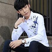 Modelos de signo caen hombres&# 39; s la personalidad de impresión de hombres de Corea del cultivo de manga larga camisa camisa marea