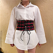 firmar Corea del temperamento salvaje estilo elegante de manga larga camisa a cuadros + pieza faja
