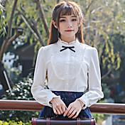 笑い春2017新しい女性レトロ甘い長袖の白いシャツの襟のシャツの弓スリムボトム