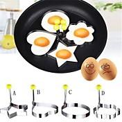 4 Piezas El moho de bricolaje For para huevo para líquido Acero Inoxidable Cocina creativa Gadget Ecológico Alta calidad