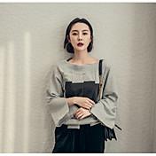 ホーンスリーブシャツのスペルカラーシャツ非対称分裂を印刷元怠惰なストリートセンス漏れ肩のセーターボックス