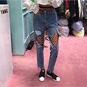 punto mendigo agujero ancho de la red Han Guoguan pernera del pantalón pantalones sueltos desigual