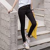 Signo 2017 primavera nuevo coreano pantalones vaqueros de alta cintura de los pies femeninos fue delgada lápiz pantalones nuevos