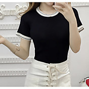 実際に2017年春に新しいスリムラウンドネック半袖Tシャツのセーター女性のセーターの潮を作ります