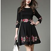 - 新しい春2017女性のサイン'刺繍されたドレスと長いセクション薄いスリムなワードスカートだった