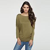 Langærmet Bateau-hals Medium Damer Ensfarvet Efterår Plusstørrelser T-shirt,Bomuld