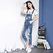 firmar agujero salvaje coreano yardas dril de algodón de las mujeres de curling delgado delgado jeans rectos siameses