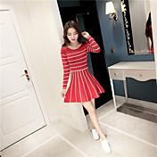 大学の風プリンセスチュチュの2016新しい韓国の半袖ラウンドネックストライプニットドレスの長いセクション