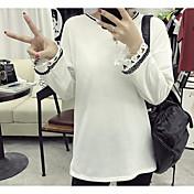 Mujer Simple Noche Casual/Diario Camiseta,Escote Redondo Un Color Manga Larga Algodón
