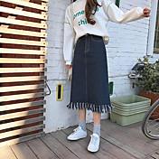 Mujer Sencillo Cotidiano Al Aire Libre Ropa de trabajo Midi Faldas,Lápices Color puro Otoño Verano Un Color