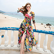 2017新しいボヘミアンビーチドレスシフォンドレス夏の海辺のリゾート大きなスイングドレスサブ女性