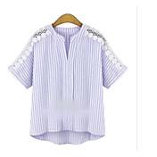 Mujer Simple Casual/Diario Camisa,Escote Redondo A Rayas Manga Larga Algodón Lino Opaco Fino
