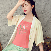 Signo literario original viento nacional retro chaleco de impresión verano femenino elegante bordado bottoming pequeña cinta