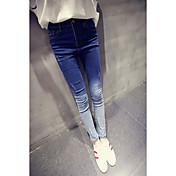 2017年春、新しい韓国の野生スリムは、薄い痩せたズボンの穴のジーンズ女性の勾配だった